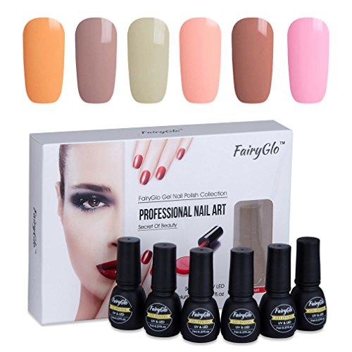 UV LED Nail Polish 6pcs Lacquer Soak Off Gel Nail Art Kit Goregous Manicure Salon Varnish Gift Set FairyGlo 7ml 001