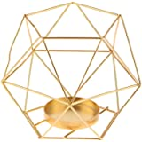 3D Industrial Iron Geometric Candle Holder fit for Candlestick Decoration Home Ornament Props (Gold)