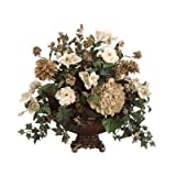 "24"" Rose, Hydrangea and Dahlia Silk Floral Arrangement with Resin Urn"