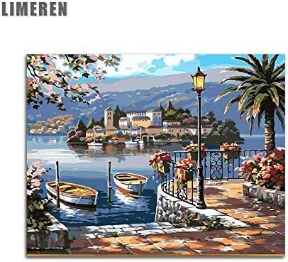 Mbywq Pintura Al Óleo Por Número Puerto Acrílico Colorear Por Números Digitales Modulares Para El Arte Moderno Cuadros De La Pared(Sin Marco)