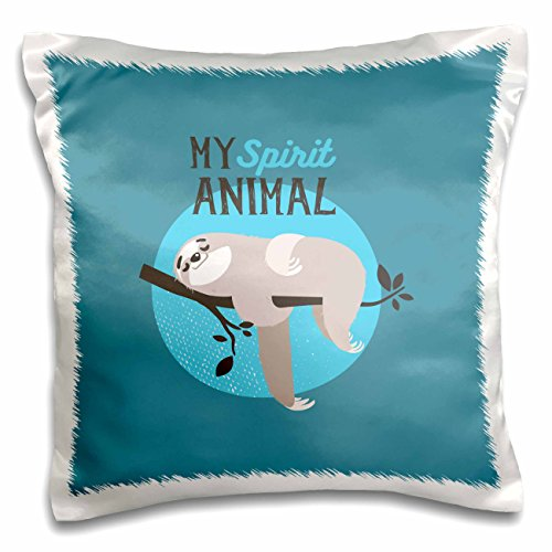 3dRose My Spirit Animal-Sloth Sleeping on Tree-Cute Typography Pillow Case, 16 x 16'' by 3dRose