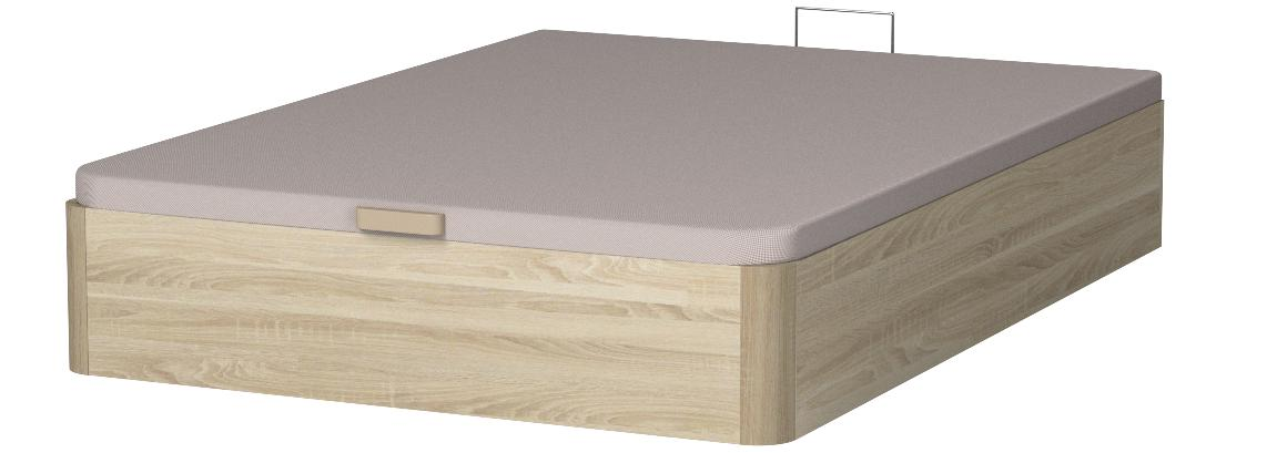 marckonfort Canapé abatible 135X190 de Gran Capacidad con Esquinas Redondeadas en Madera, Base tapizada 3D Transpirable Color Roble