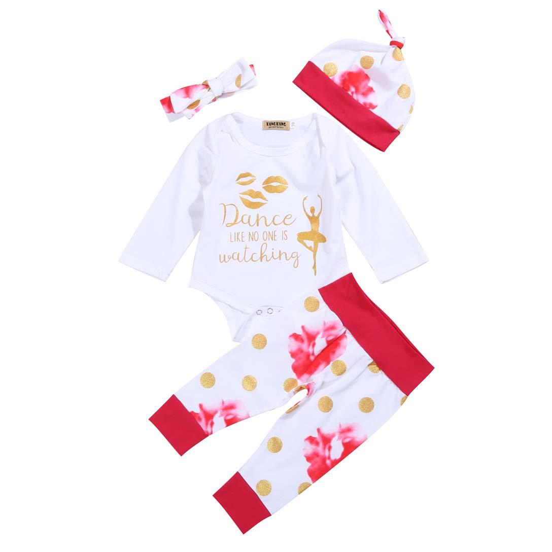 Nunique 4 Pcs Baby Girls Clothes Letter Print Romper Floral Pants Hats Headband Outfits