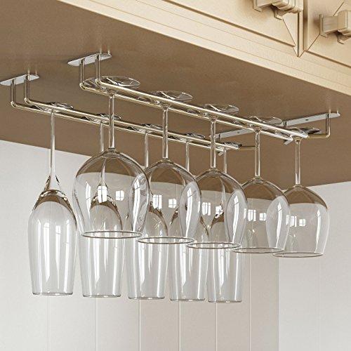 Rack and Hook Stemware Glass Rack  Wine Glass Hanger Under Cabinet Storage for Bar or Kitchen Chrome Finish (Glass Cabinet Storage compare prices)