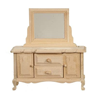 Melody Jane Dollhouse Dressing Table Unfinished Bare Wood Miniature Bedroom Furniture: Toys & Games