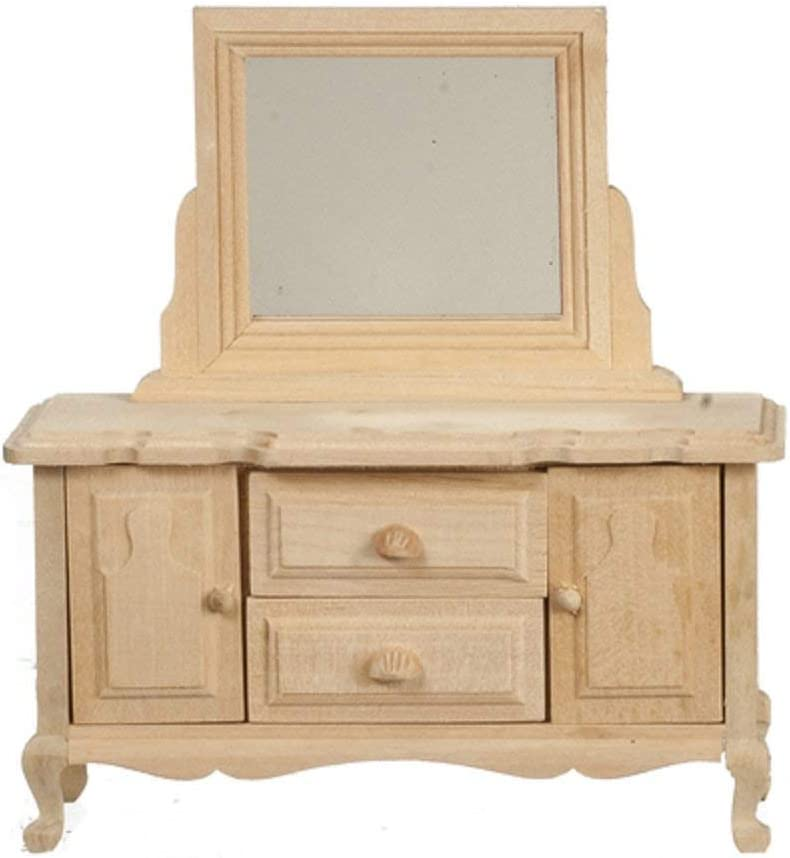 Melody Jane Dollhouse Dressing Table Unfinished Bare Wood Miniature Bedroom Furniture