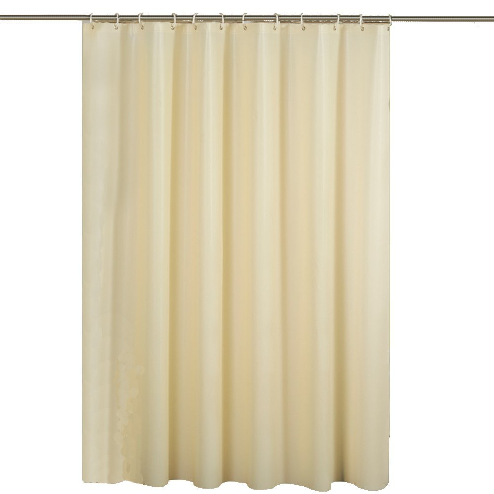 Hotel PEVA Long Shower Curtain Liner, Water repellent, Mildew Resistant, Machine Washable, Beige Shower Curtain with 12 Grommets, 71(W) x 78(H) inches for Bathroom,Toilet Dressing Room