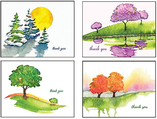 Thank You All Year Round - Four Seasons Trees Premium Thank You Cards All Occasion Stationery Note Cards - Boxed Set of 20 Greeting Cards and Matching Envelopes