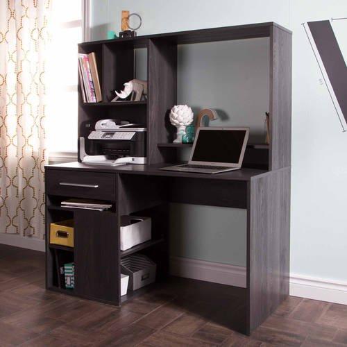 Home Office Computer Desk, Metal Handles, Cord Management Holes with 4 USB Ports, Built-in Bookcase, 2 Adjustable Shelves, Printer Space Below, Metal Drawer Slides, Gray Oak + Expert Guide