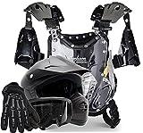 Kids Youth Offroad Helmet Gloves Goggles Chest Protector GEAR COMBO Motocross ATV Dirt Bike MX Matte Black ( XL )