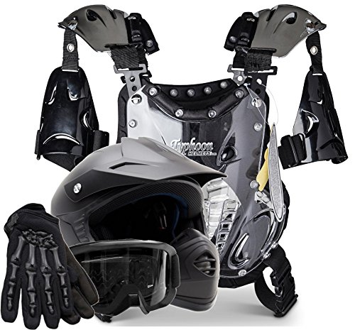 Kids Youth Offroad Helmet Gloves Goggles Chest Protector GEAR COMBO Motocross ATV Dirt Bike MX Matte Black ( Large )
