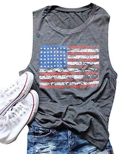 FAYALEQ American Flag Print Tank Tops Women 4th of July USA Stars Stripes Patriotic T Shirt Summer Loose Vest Tees Size L (Gray)