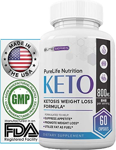 (PureLife Keto Weight Loss Supplement: Fat Burner Pills, Extra Strength, Appetite Suppressant for Women and Men, Ketosis Weight Loss Pills, Carb Blocker for Ketogenic Diet (800mg BHB Potency))