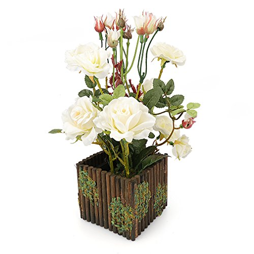 RERXN Artificial Flower with Wooden Fence Pot Silk Potted Rose Arrangement for Home and Wedding Decor (White)