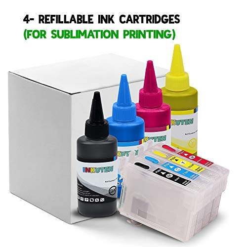 Dye Sublimation Ink Package - WorkForce WF-7110 WF-7610 WF-7620 printer Refillable ink cartridge package - 4 multi-color bottles 100ml each color - 4 Refillable ink cartridges