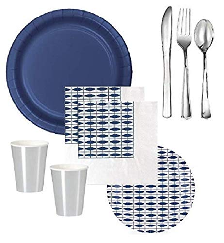 Navy Blue Party Supplies Birthday Bridal Wedding Shower With Shiny Silver Cups & Premium Quality Shiny Silver Plastic Cutlery for 12-16 Guests - Elegant Style