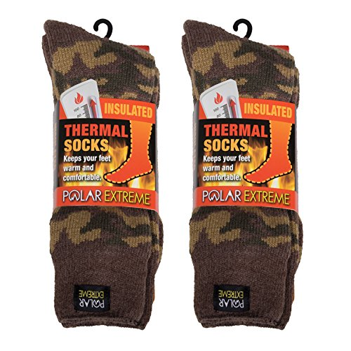 Polar Extreme Insulated Thermal Socks - Green Camouflage (Pack of 2)
