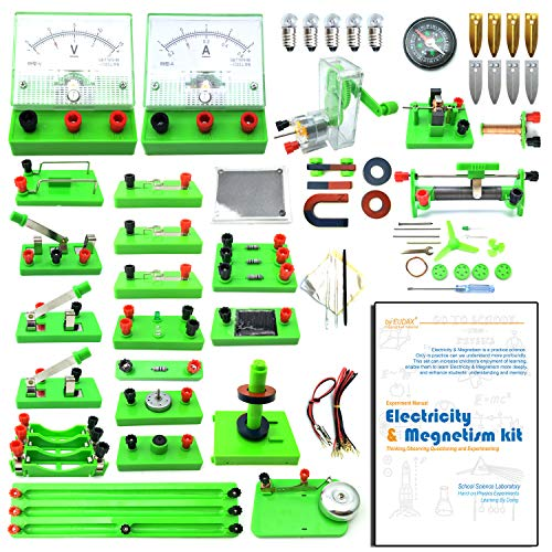 Electricity Kit - EUDAX School Physics Labs Basic Electricity Discovery Circuit and Magnetism Experiment kits for Kids Junior Senior High School Students Electromagnetism Elementary Electronics