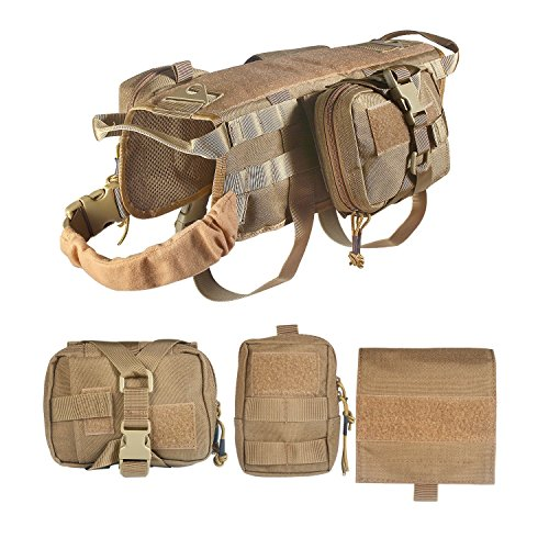 Yijiagou Military Tactical Service Dog Training Vest Police Molle Dog Compact Vest Harness Nylon Adjustable Vest Packs Coat (Brown+3Pouches, XL)