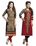 Jevi Prints Women's Unstitched Cotton Printed Kurti Fabrics (SAHELI-1204-1225_Black_Free Size) 1204-25