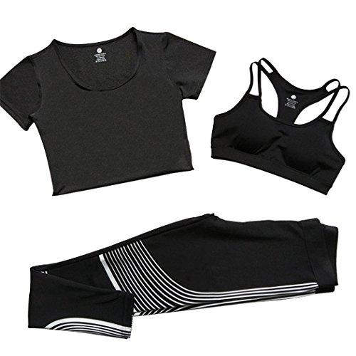 Dehutin Sin Aros Sujetador + Camisa Seca Rápida + Flexible Nueve Pantalones 3 Piezas Conjunto De Deportes Para Mujeres Talla Extra Gris