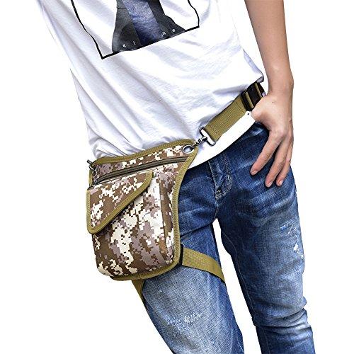 Genda 2Archer Mini Bolsa de Nylon de la Bolsa de la Pierna de la Lona de los Hombres Bolsa de Tracolla (16cm*3 cm*22 cm) (Marrón) Marrón