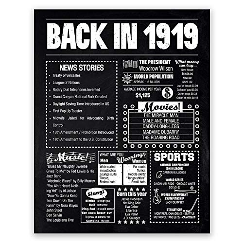11x14 1919 Birthday Gift // Back in 1919 Black and White Poster // 100th Birthday Gift // 100th Party Decoration // 100th Birthday Sign // Born in 1919 Print]()
