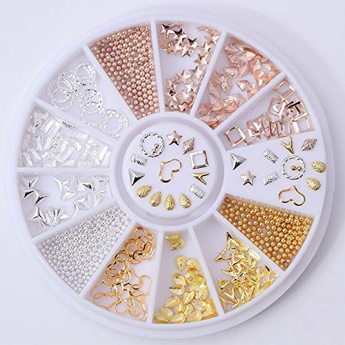 Rose Gold Beads Rhinestone 3D Nail Art Decoration in Wheel Manicure AB Color DIY (Pattern - Mix Rivets Teardrop Rhombus(Ap.)