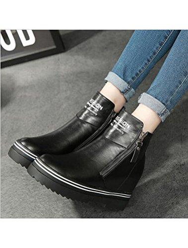 Toison Véritable Ascenseur Antidérapant Compensées Plateforme Chaussures Femmes MatchLife Cuir Noir 6xqffY