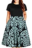 Nemidor Women's Round Neck Summer Casual Plus Size Fit and Flare Midi Dress with Pocket (155BluePrint, 18W)