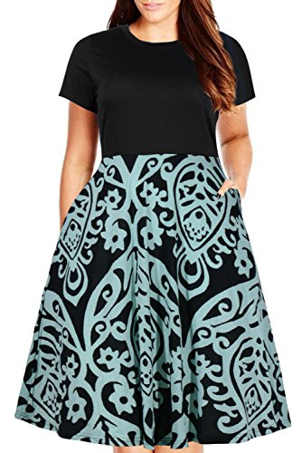 Nemidor Women's Round Neck Summer Casual Plus Size Fit and Flare Midi Dress with Pocket (155BluePrint, 26W)