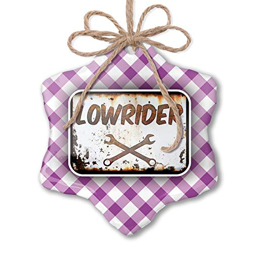 (NEONBLOND Christmas Ornament Rusty Old Look car Lowrider Purple Plaid)
