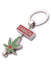 Rotating Canada Cannabis Leaf Weed Keychain Full Metal Diecast Key Ring
