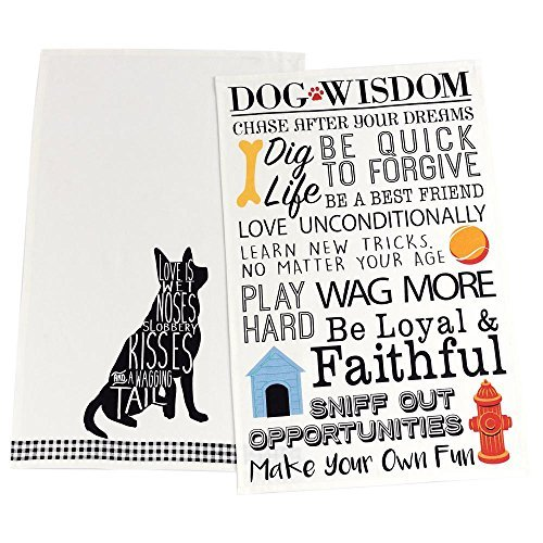 DII Design Imports Love is a Dog Set of 2 Kitchen Dish Towels Dog Wisdom by DII