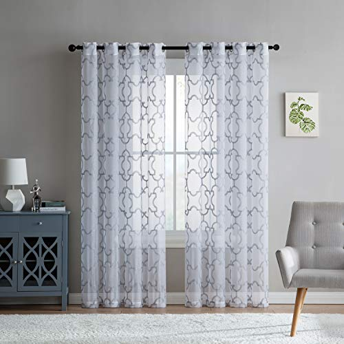 "Ruthy's Textile Curtains – Black Sheer Curtains – 2 x 55"" x 84"" Panels, Grommet Top - Trellis Embroidered Voile Drapes - for Bedroom, Living Room or Dining Room Windows"
