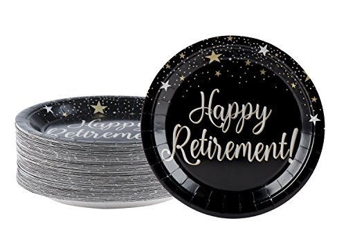 Disposable Plates - 80-Count Paper Plates, Happy Retirement Party Supplies for Appetizer, Lunch, Dinner, and Dessert, 9 x 9 Inches