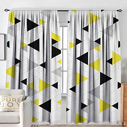 Triangle Knob Puzzle - Petpany Living Room Curtains Geometric,Abstract Triangles Diamond Motives in Mosaic Puzzle Style Illustration Print,Yellow Black,Darkening and Thermal Insulating Drapes 54