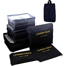 7 Set Travel Packing Organizer,Waterproof Mesh Luggage Travel Cubes with 1 Shoe Bag - Travel Compression Organizers
