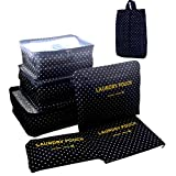 Itraveller 6 Piece Colorful set- 3 Packing Cubes and 3 Pouches-Compress and Organize Your Clothes While Traveling-Pouches help to Separate Your Dirty Clothes to Help Prevent Stains (Wave Point)