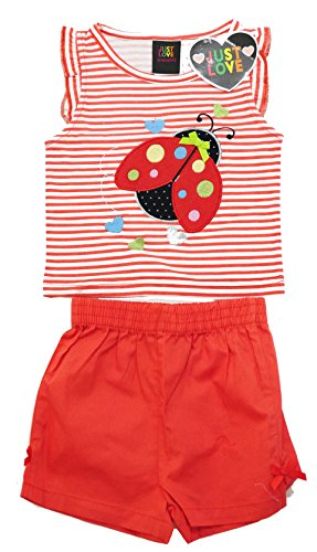 Just Love Two Piece Girls Shorts Set Red Bug 3T