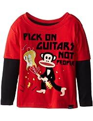Paul Frank 大嘴猴 男童Pick On Guitars Mock 长袖 印花纯棉T恤$12.15