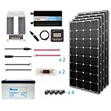 Renogy 400 Watt 12 Volt Premium Solar Complete Kit Monocrystalline with MPPT Charge Controller +Mounts+ 200AH Gel Battery+ 1000W Pure Sinve Inverter