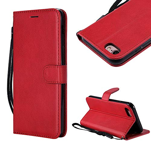 Cistor Strap Wallet Case for iPhone 7/8,Stylish Solid Color Folio Flip Cover Shockproof PU Leather Stand Protective Case with Card Slot Magnetic Closure for iPhone 7/8 + Free Ring Holder,Red
