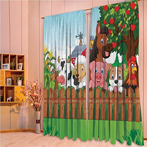 House Decor Collection Living Room Bedroom Curtain 2 Panels Set by,Cartoon,Cute Farm Animals on the Fence Comic Mascots with Dog Cow Horse for Kids Decor Decorative,Multi,108.3