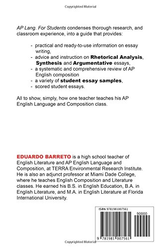 ap lang for students and their teachers a no nonsense guide for ap  for students and their teachers a no nonsense guide for ap english  language and composition essay writing eduardo barreto   amazoncom  health issues essay also computer science essays science fiction essays