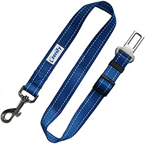 Zenify Heavy Duty Dog Seat Belt - Durable Car Seat Leash for Dogs Puppies - Pet Harness Vehicle Safety (Blue)
