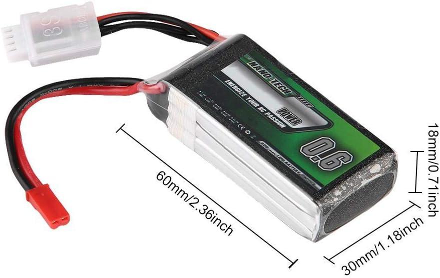 Dilwe Bater/¨/ªa RC LiPo 11.1V 600mAh 30C Enchufe JST Bater/¨/ªa de LiPo para Coche RC//AVI/¨/®n//Barco