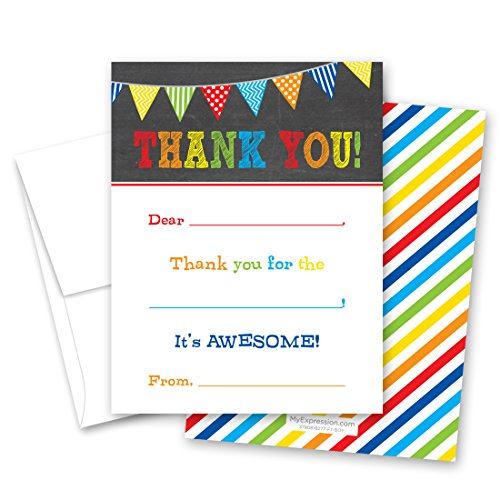20 Boys Multicolored Banners Chalkboard Fill-in Thank You Cards -