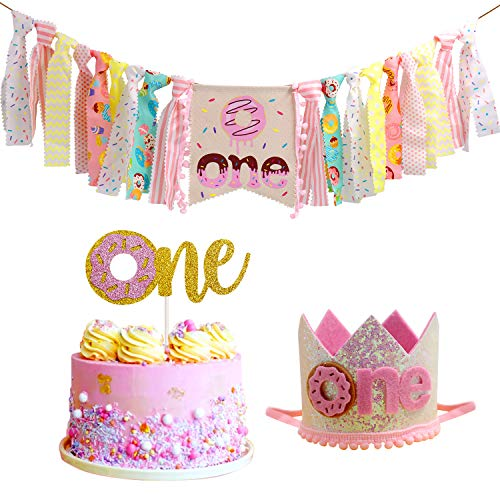 Donut High Chair Banner for 1st Birthday Party Decorations - Photo Booth Props, Birthday Gifts and Souvenir for First Baby Girl -