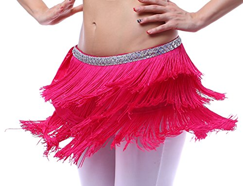 Hot Pink Large Hip Scarfs for Women with Fringes Belly Dance Belt